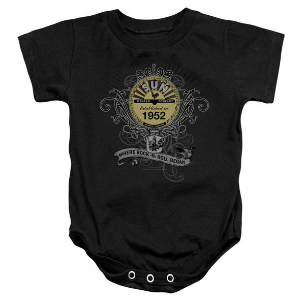 Sun/Rockin Scrolls Infant Snapsuit in Black