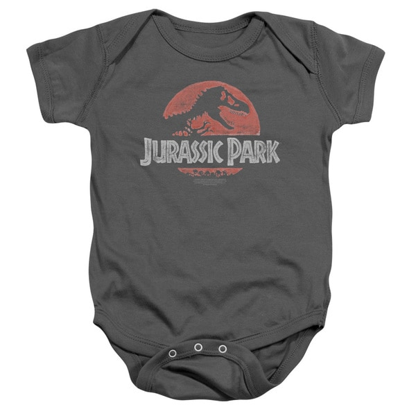 Jurassic Park/Faded Logo Infant Snapsuit in Charcoal