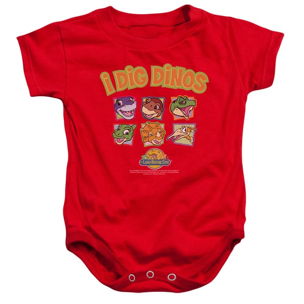 Land Before Time/I Dig Dinos Infant Snapsuit in Red