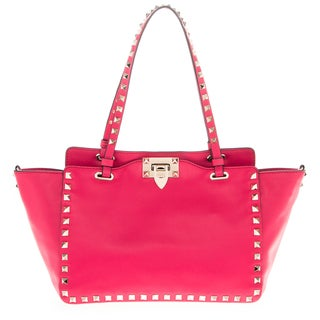 Valentino Small Leather Top Push-Lock Rockstud Tote