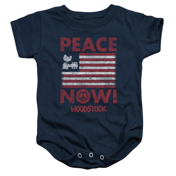 Woodstock/Peace Now Infant Snapsuit in Navy