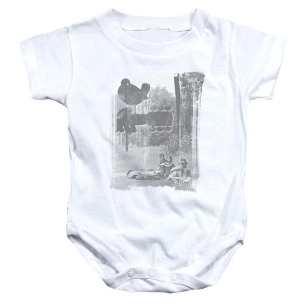 Woodstock/Hippies in A Field Infant Snapsuit in White