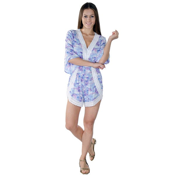 Women's Multicolor Polyester V-neck Lace Embellished Casual Romper Playsuit