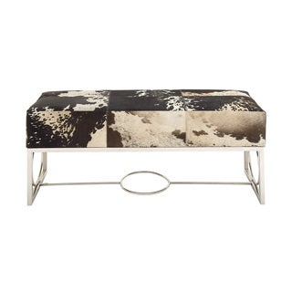 Multicolor Stainless Steel/Leather Bench
