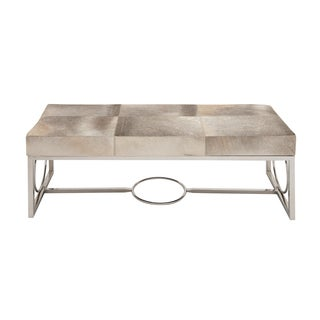Modern Genuine Leather and Stainless Steel Bench