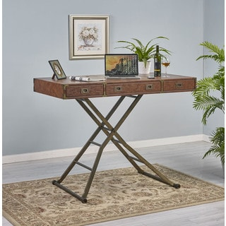 Carolyn Brown/Brass Bonded Leather/Metal/Wood Sit and Stand Desk