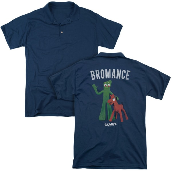 Gumby/Bromance (Back Print) Mens Regular Fit Polo in Navy