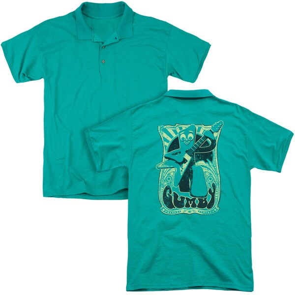 Gumby/Vintage Rock Poster (Back Print) Mens Regular Fit Polo in Kelly Green