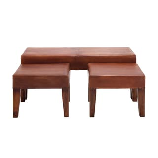 The Heartthrob Multi-color Leather, Wood Bench (Set of 3)