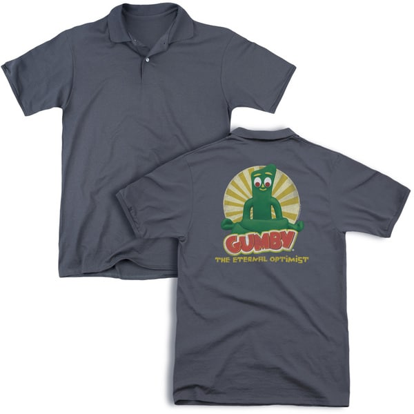 Gumby/Optimist (Back Print) Mens Regular Fit Polo in Charcoal