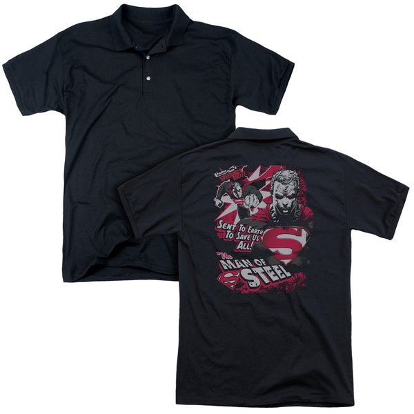 Superman/Save Us All (Back Print) Mens Regular Fit Polo in Black