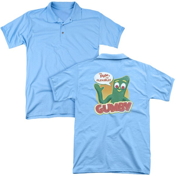 Gumby/Fun & Flexible (Back Print) Mens Regular Fit Polo in Carolina Blue