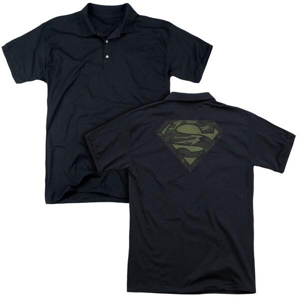 Superman/Camo Logo Distressed (Back Print) Mens Regular Fit Polo in Black