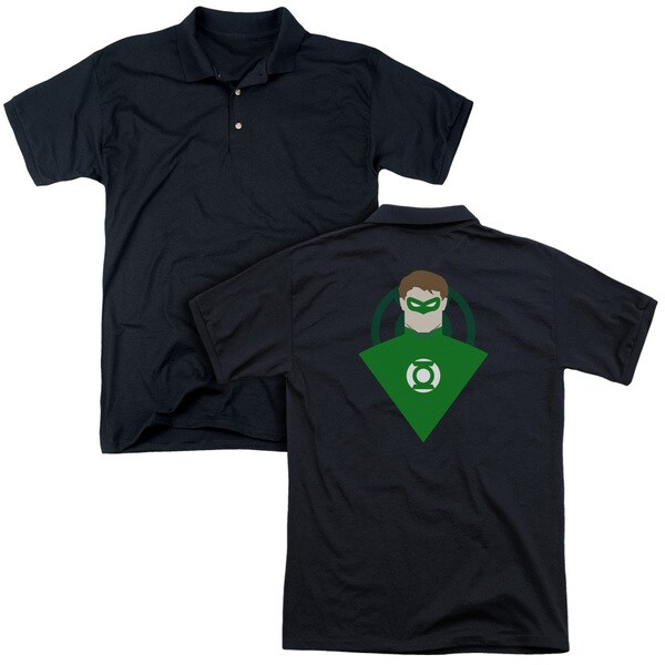 Green Lantern/Simple Gl (Back Print) Mens Regular Fit Polo in Black