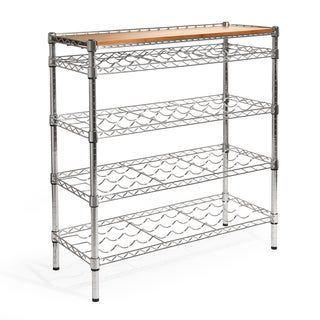 Seville Classics Silver Steel 96-bottle 5-shelf Wine Rack with Bamboo Top