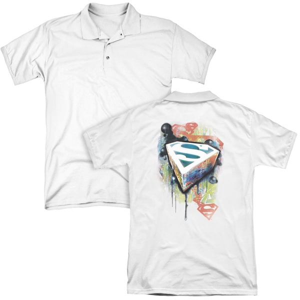 Superman/Urban Shields (Back Print) Mens Regular Fit Polo in White