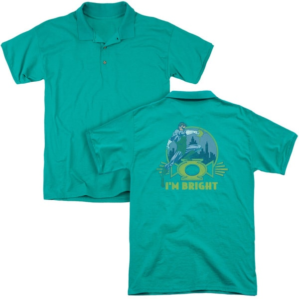 Green Lantern/I'M Bright (Back Print) Mens Regular Fit Polo in Kelly Green