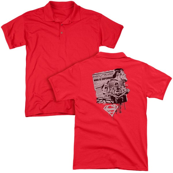 Superman/Identity (Back Print) Mens Regular Fit Polo in Red