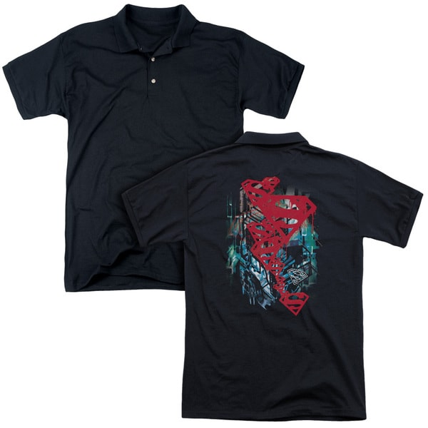 Superman/Gritty (Back Print) Mens Regular Fit Polo in Black
