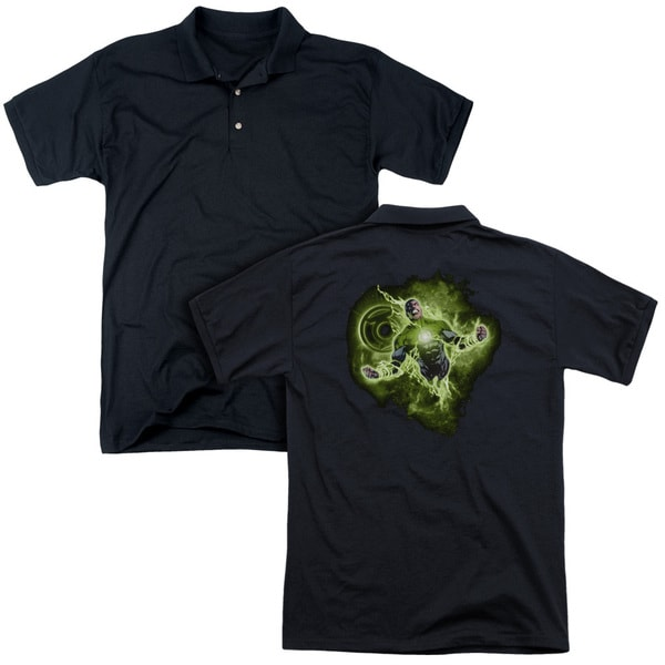 Green Lantern/Lantern Nebula (Back Print) Mens Regular Fit Polo in Black