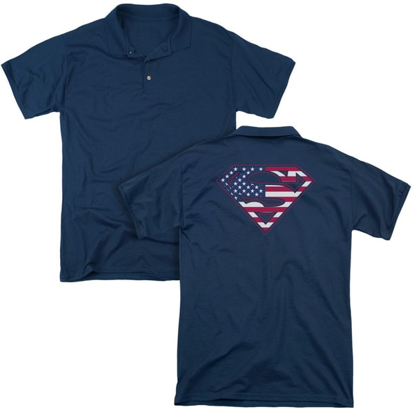 Superman/U S Shield (Back Print) Mens Regular Fit Polo in Navy