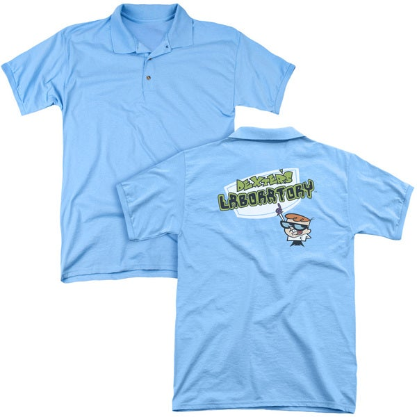 Dexter's Laboratory/Logo (Back Print) Mens Regular Fit Polo in Carolina Blue