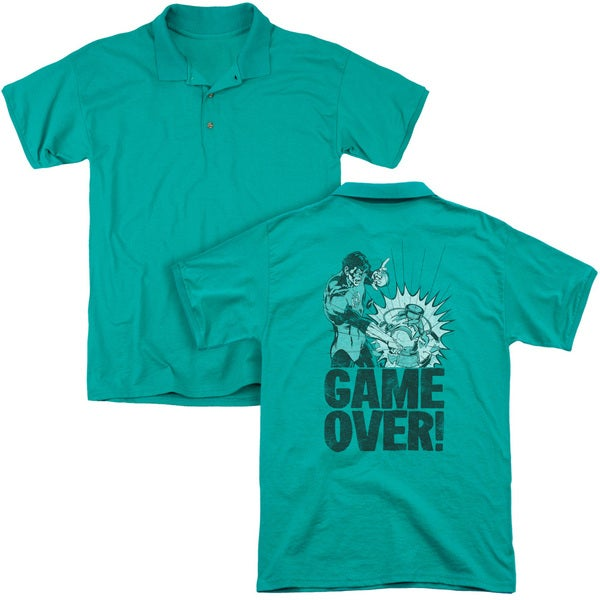 Green Lantern/Game Over (Back Print) Mens Regular Fit Polo in Kelly Green
