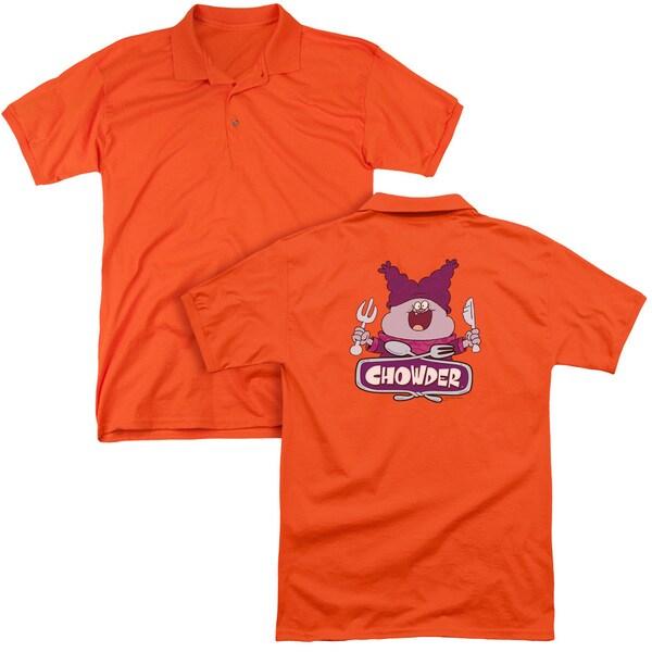 Chowder/Logo (Back Print) Mens Regular Fit Polo in Orange