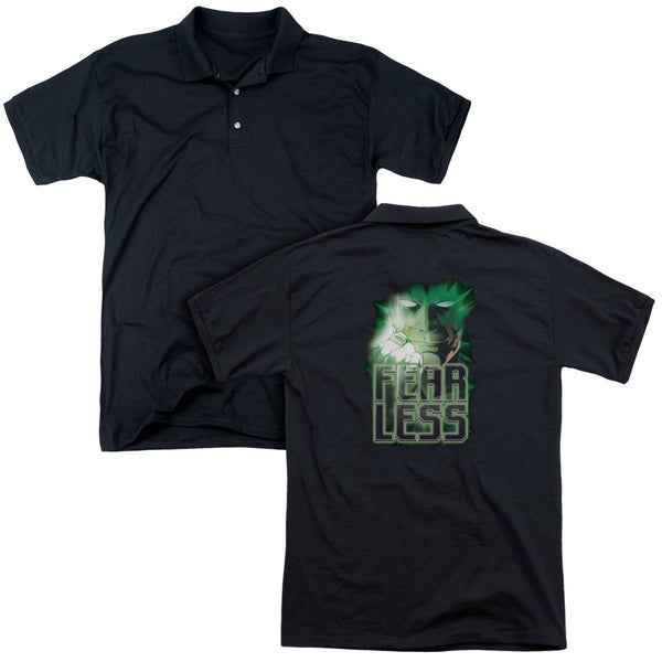 Green Lantern/Fearless (Back Print) Mens Regular Fit Polo in Black
