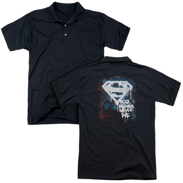 Superman/Real Heroes Never Die (Back Print) Mens Regular Fit Polo in Black