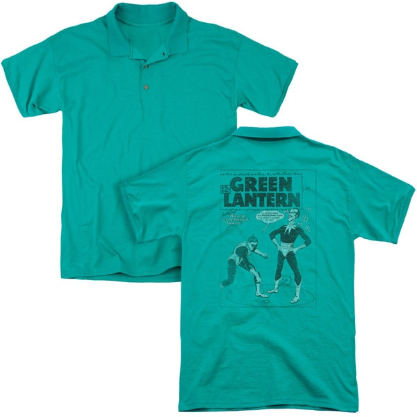 Green Lantern/Perilous Traps (Back Print) Mens Regular Fit Polo in Kelly Green