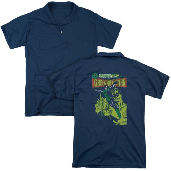 Green Lantern/Vintage Cover (Back Print) Mens Regular Fit Polo in Navy