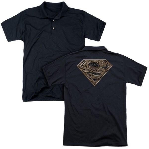 Superman/Aztec Shield (Back Print) Mens Regular Fit Polo in Black