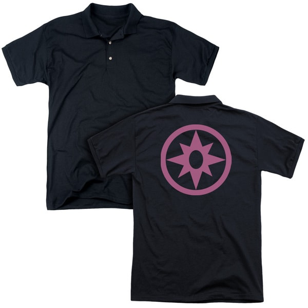 Green Lantern/Pink Emblem (Back Print) Mens Regular Fit Polo in Black