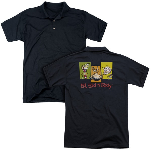 Ed Edd Eddy/3 Ed's (Back Print) Mens Regular Fit Polo in Black