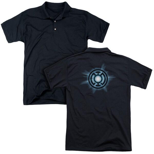 Green Lantern/Blue Glow (Back Print) Mens Regular Fit Polo in Black