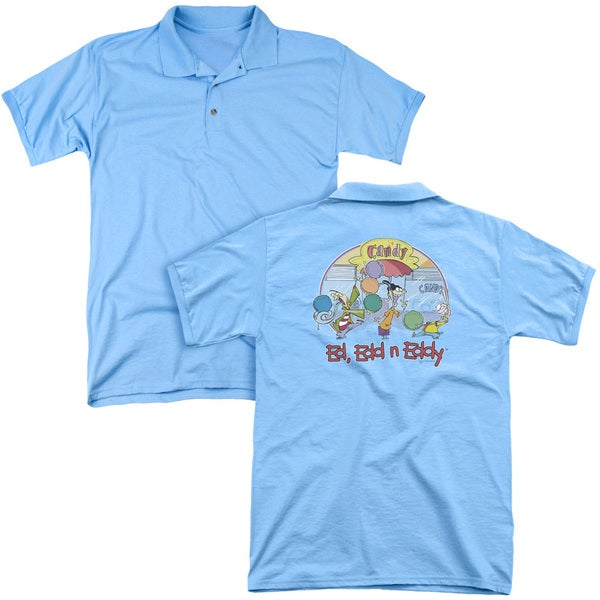 Ed Edd Eddy/Jawbreakers (Back Print) Mens Regular Fit Polo in Carolina Blue