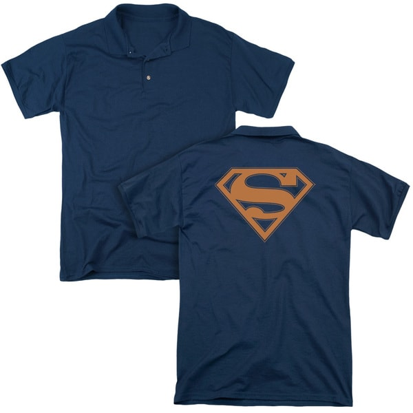 Superman/Navy & Orange Shield (Back Print) Mens Regular Fit Polo in Navy