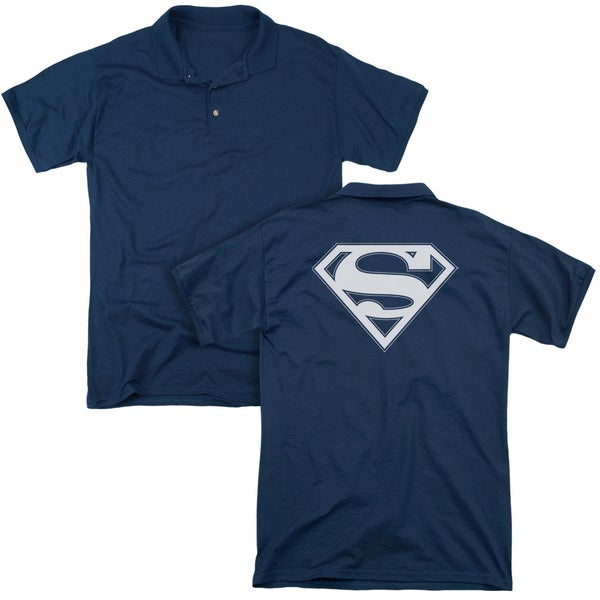 Superman/Navy & White Shield (Back Print) Mens Regular Fit Polo in Navy