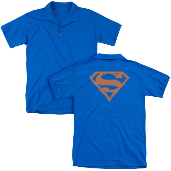 Superman/Blue & Orange Shield (Back Print) Mens Regular Fit Polo in Royal