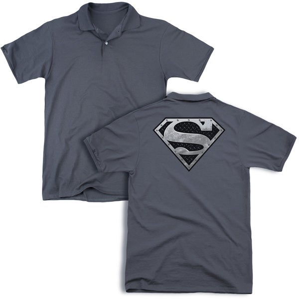Superman/Super Metallic Shield (Back Print) Mens Regular Fit Polo in Charcoal