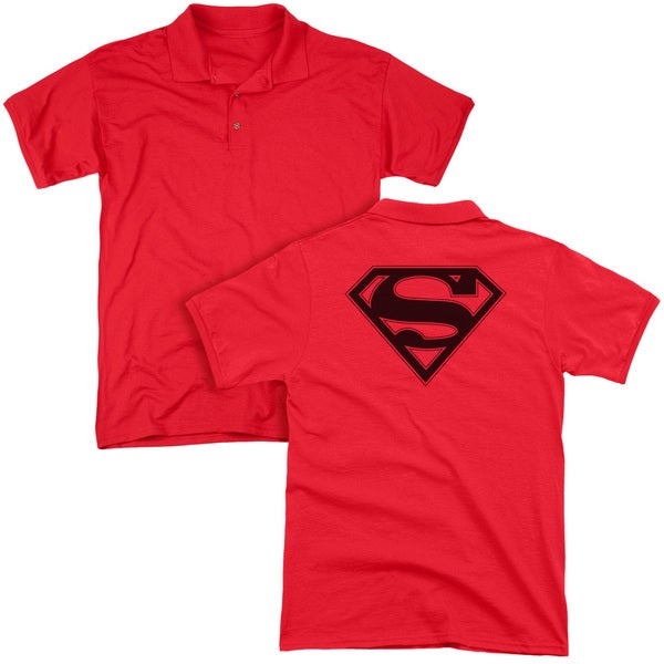 Superman/Red & Black Shield (Back Print) Mens Regular Fit Polo in Red