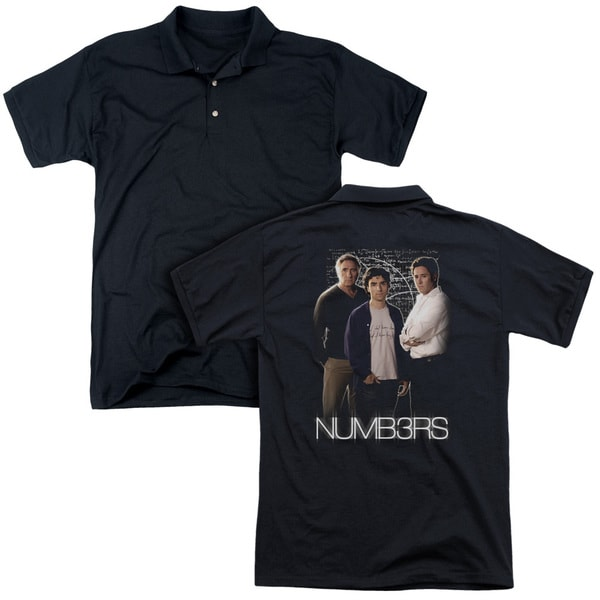 Numbers/Equations (Back Print) Mens Regular Fit Polo in Black