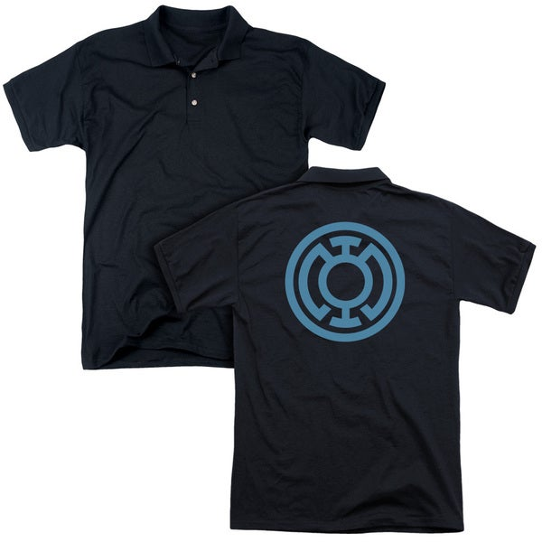 Green Lantern/Lt Blue Emblem (Back Print) Mens Regular Fit Polo in Black