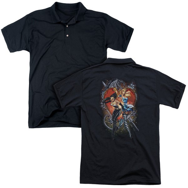 Zenoscope/Heart (Back Print) Mens Regular Fit Polo in Black