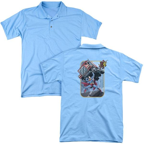 Superman/Pick Up My Truck (Back Print) Mens Regular Fit Polo in Carolina Blue