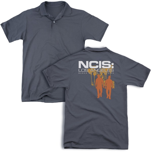 Ncis:La/Slow Walk (Back Print) Mens Regular Fit Polo in Charcoal