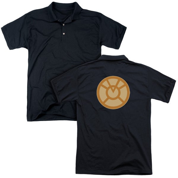 Green Lantern/Orange Symbol (Back Print) Mens Regular Fit Polo in Black