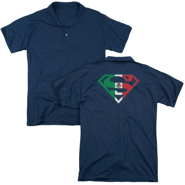 Superman/Mexican Shield (Back Print) Mens Regular Fit Polo in Navy
