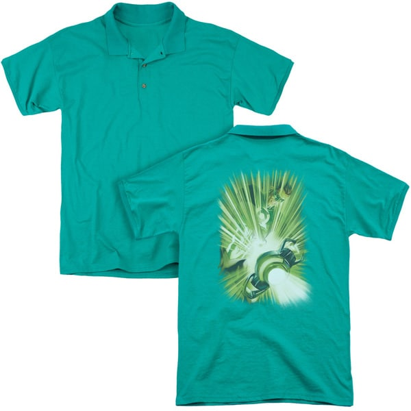Green Lantern/Lantern's Light (Back Print) Mens Regular Fit Polo in Kelly Green